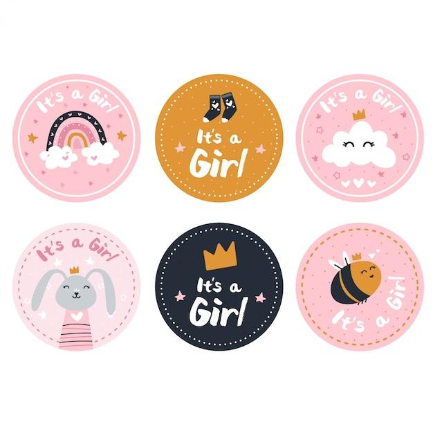 Płeć Ujawnia Naklejki Dziewczyny Premium Wektorów