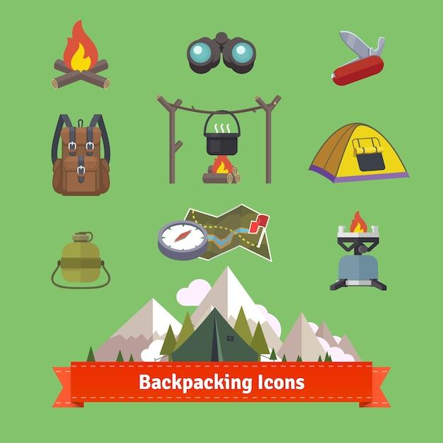Plecak i turystyka płaska ikona zestawu Darmowych Wektorów