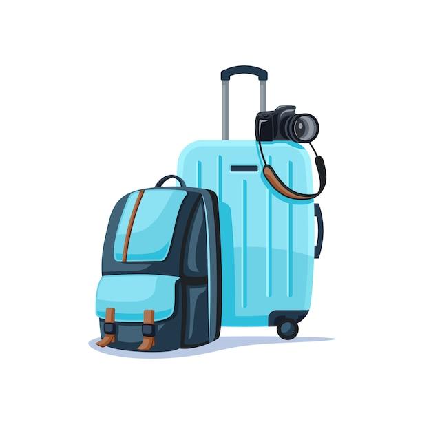 Plecak I Walizka Na Białym Tle. Premium Wektorów