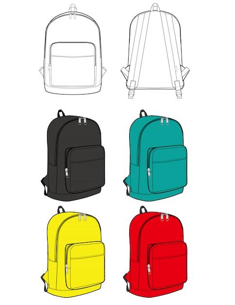 Plecak projekt ilustracja płaskie szkice szablon Premium Wektorów