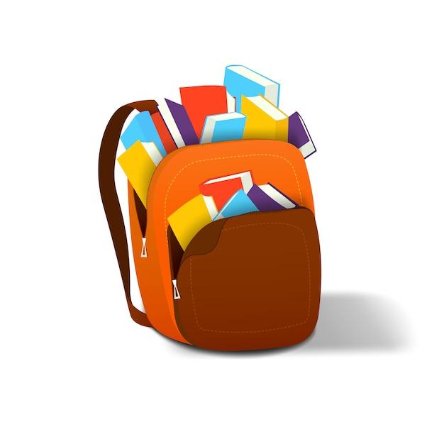 Plecak w którym z książkami Premium Wektorów