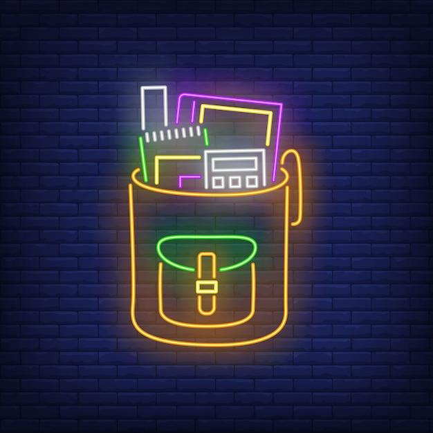 Plecak z kalkulatorem neon. Darmowych Wektorów