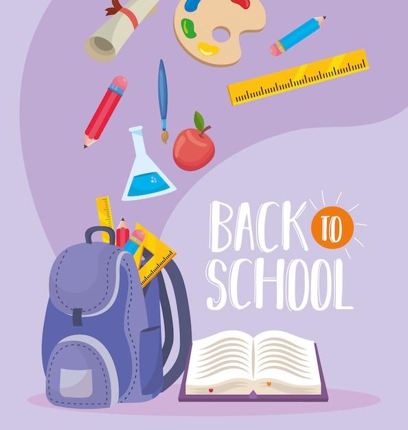 Plecak z kolbą erlenmeyera i książką z ołówkami Darmowych Wektorów