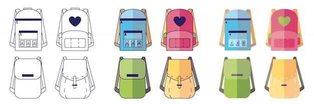 Plecaki. Zestaw Plecaków Szkolnych W Różnych Stylach. Premium Wektorów