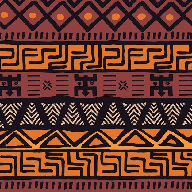 Plemienny Etniczny Kolorowy Artystyczny Wzór Z Geometrycznymi Elementami, Afrykańska Borowinowa Tkanina, Plemienny Projekt Premium Wektorów