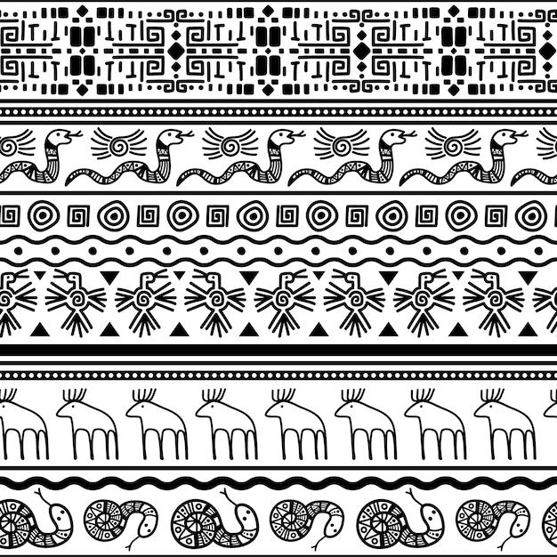 Plemienny Meksykański Bezszwowy Wzór. Wektor Kwiatowy I Zwierząt Tekstylnych Meksyku Lub Afrykańskiego Druku Mody Premium Wektorów