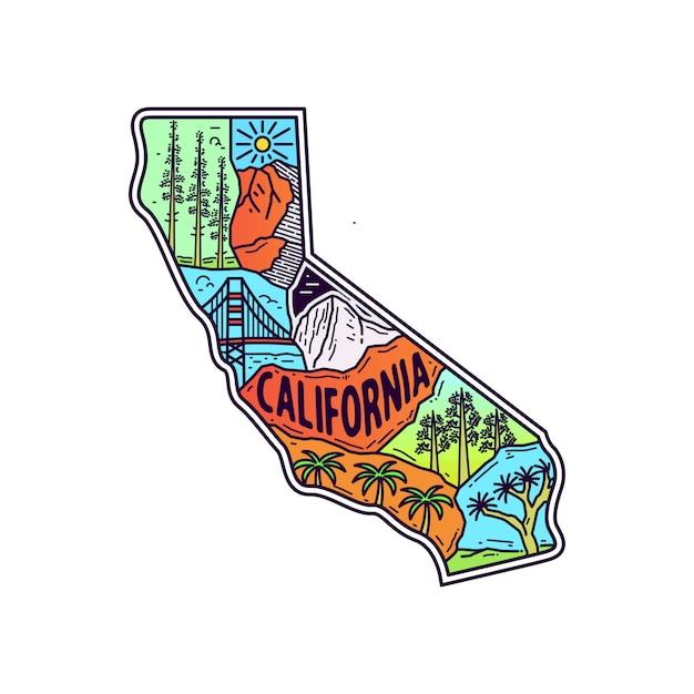 Plenerowa Monoline Ilustracja Z California Mapą Premium Wektorów