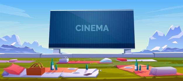 Plenerowy Kino Z Pyknicznymi Koc Ilustracyjnymi Darmowych Wektorów