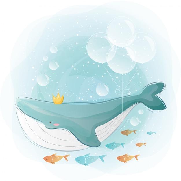 Płetwal Błękitny I Mali Przyjaciele Premium Wektorów