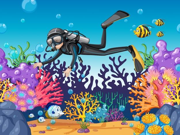 Płetwonurek nurkowanie w pięknej rafie Darmowych Wektorów