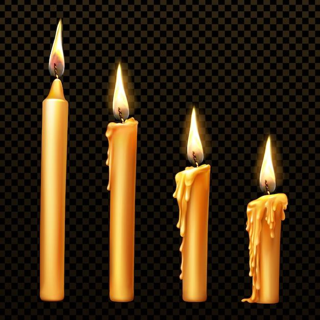 Płonąca świeca, Ociekający Lub Płynący Wosk, Realistyczny Darmowych Wektorów