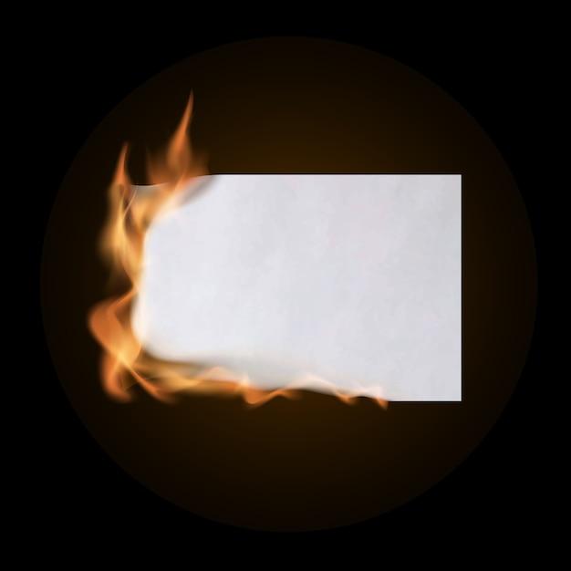 Płonący Kawałek Zmiętego Papieru. Zmięty Pusty Papier Pusty Premium Wektorów