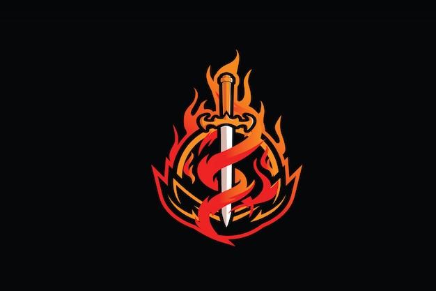 Płonący miecz clipart do logo maskotki e-sportu Premium Wektorów