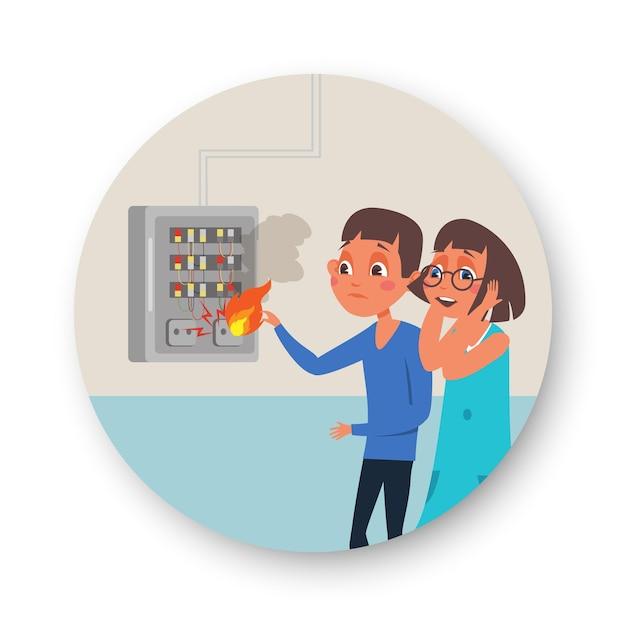 Płonący Panel Elektryczny W Mieszkaniu, Dziewczynka I Chłopiec Naciskając Przyciski Na Tablicy Rozdzielczej Premium Wektorów