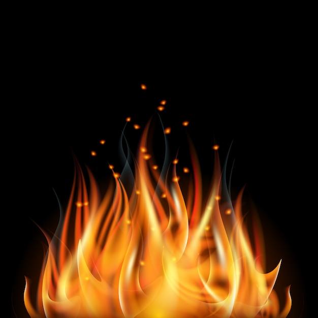Płonący Płomień Ognia Na Czarnym Tle. Premium Wektorów