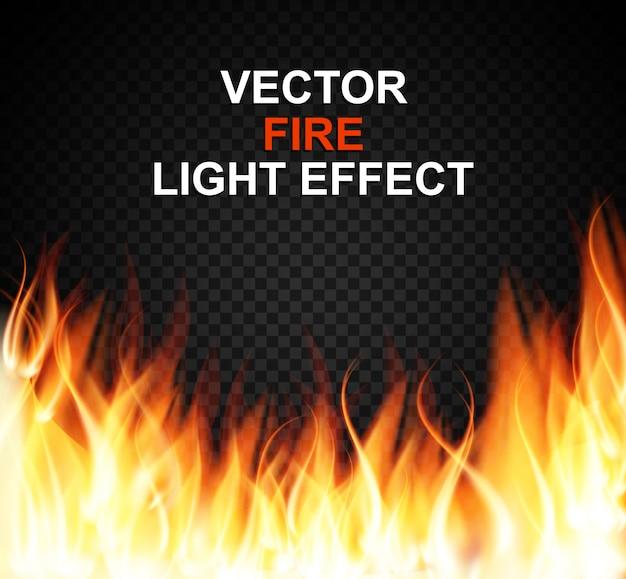 Płonący specjalny efekt świetlny płomieni na przezroczystym tle Premium Wektorów