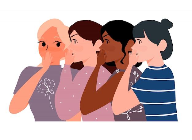 Plotkują Dziewczyny Szepczące W Tajemnicy Ucha. Kobieta Szepcze Sekret Jej Przyjaciół Ilustracyjnych. Koncepcja Pantoflowa Premium Wektorów