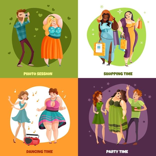 Plus Rozmiar Kobiety Podczas Sesji Zdjęciowej Zakupy Przyjęcia I Dancingowego Pojęcia Odizolowywającego Darmowych Wektorów
