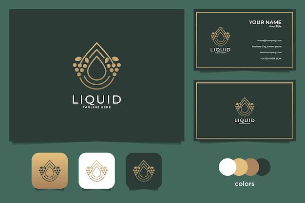 Płynne Złote Logo I Wizytówka. Dobre Wykorzystanie Logo Mody I Spa Premium Wektorów