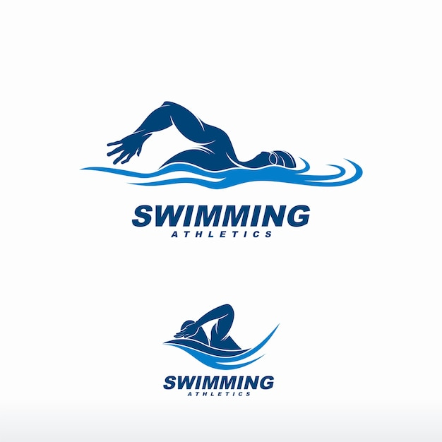 Pływanie Logo Premium Wektorów