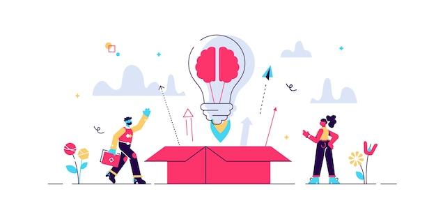 Po Wyjęciu Z Pudełka Kreatywny Pomysł, Ilustracja Koncepcja Małych Osób. Premium Wektorów