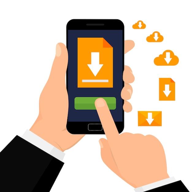 Pobieranie Pliku Za Pomocą Telefonu. Ręka Trzyma Smartfona Z Przyciskiem Pobierz. Ilustracji Wektorowych. Premium Wektorów