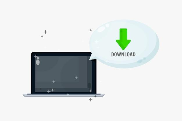 Pobierz Pliki Na Laptopie Za Pomocą Mowy Bąbelkowej Premium Wektorów