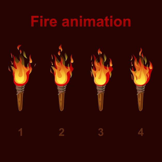 Pochodnie Animacji Ognia, Klatki Wideo Płomienia Premium Wektorów
