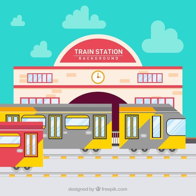 Pociągi odjeżdżają z dworca kolejowego Darmowych Wektorów
