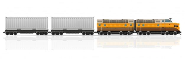 Pociąg Kolejowy Z Ilustracji Wektorowych Lokomotyw I Wagonów Premium Wektorów