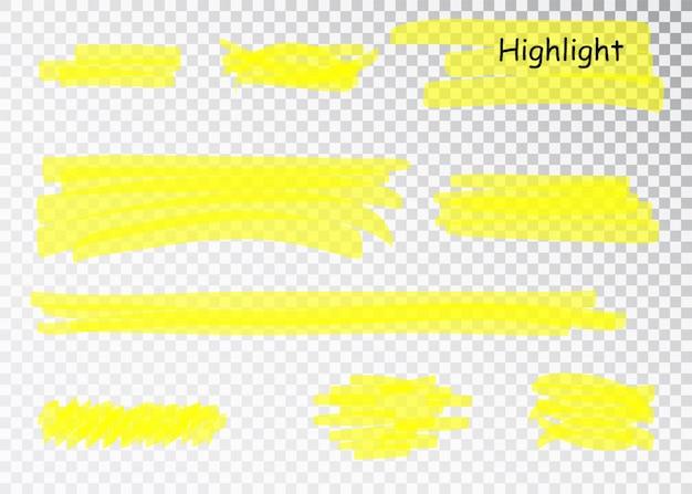 Pociągnięcia Znacznika żółtego Zakreślacza. Pióro Pędzla Podkreśla Linie. Zestaw Podświetlany Ręcznie Rysowane Akwarela żółty. Premium Wektorów