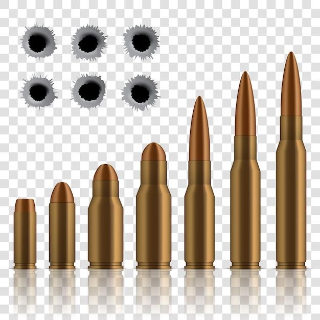 Pociski strzelające, dziury, wystrzał, broń kalibru. Premium Wektorów