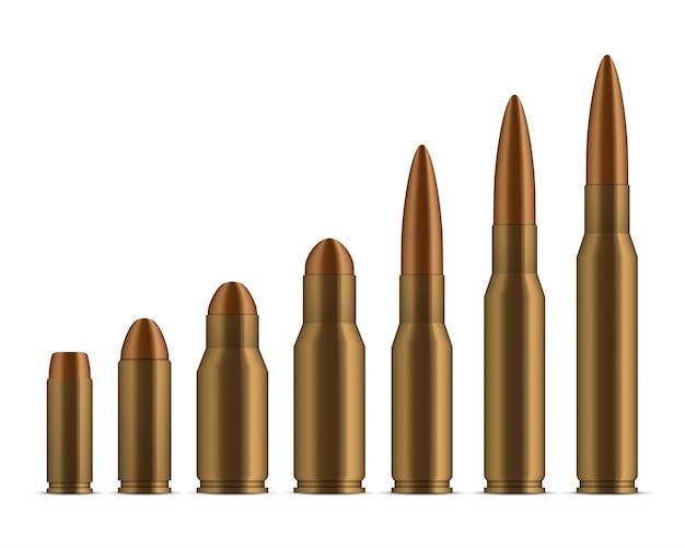 Pociski z pistoletu, dziury, strzały, broń kalibru. Premium Wektorów