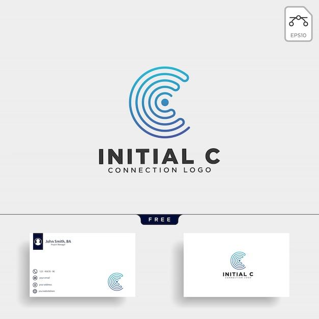 Początkowa c wifi logo szablon ilustracji wektorowych Premium Wektorów