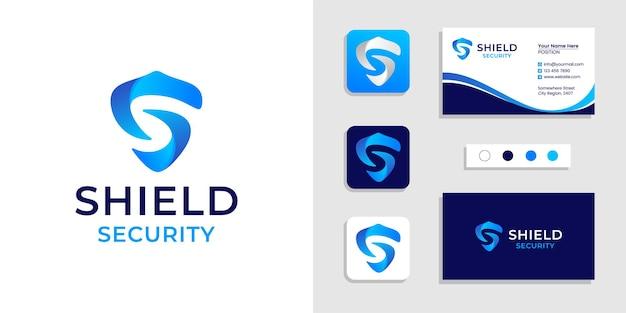 Początkowa Litera S Logo Tarczy I Szablon Wizytówki Premium Wektorów