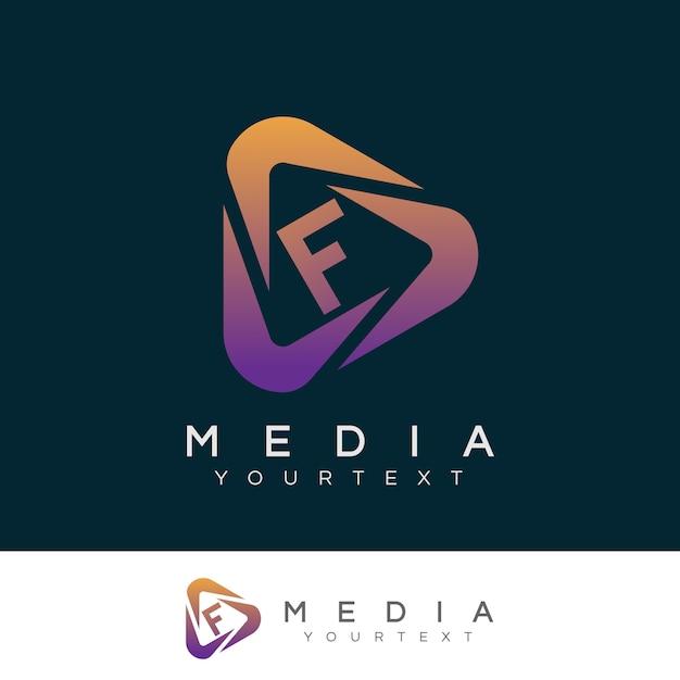 Początkowe Media Litera F Projektowanie Logo Premium Wektorów