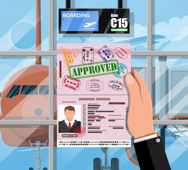 Poczekalnia W Pasażerskim Terminalu Lotniska Premium Wektorów