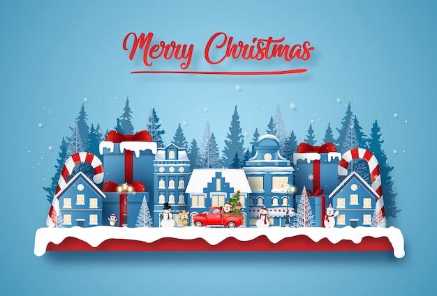 Pocztówka christmas party w mieście z mikołajem i uroczą postacią Premium Wektorów