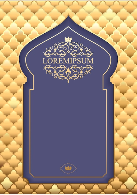 Pocztówka lub zaproszenie w stylu orientalnym Premium Wektorów