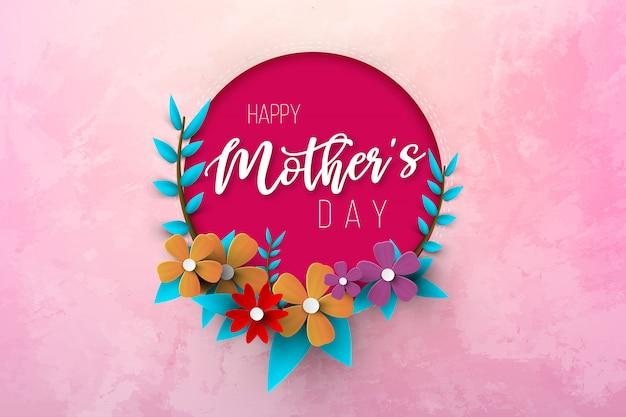 Pocztówka Na Dzień Matki, Z Papierowymi Kwiatami I Listem W środku. Premium Wektorów