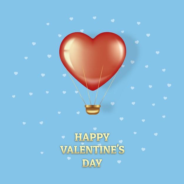 Pocztówka Na Walentynki. Latający Czerwony Balon Na Niebieskim Tle. Premium Wektorów