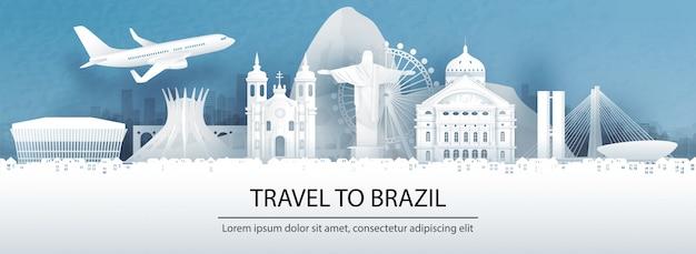 Pocztówka podróżnicza, reklama wycieczek znanych na całym świecie zabytków brazylii Premium Wektorów