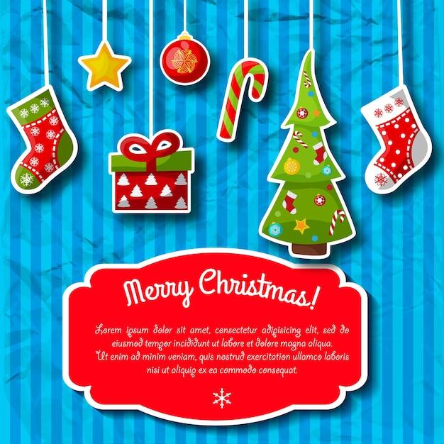 Pocztówka świąteczna W Niebieskie Paski Z Dekoracjami świątecznymi I Czerwonym Polem Tekstowym Darmowych Wektorów