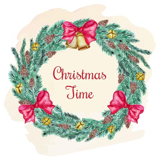 Pocztówka świąteczna z gałęzi drzew iglastych i kokardą Premium Wektorów