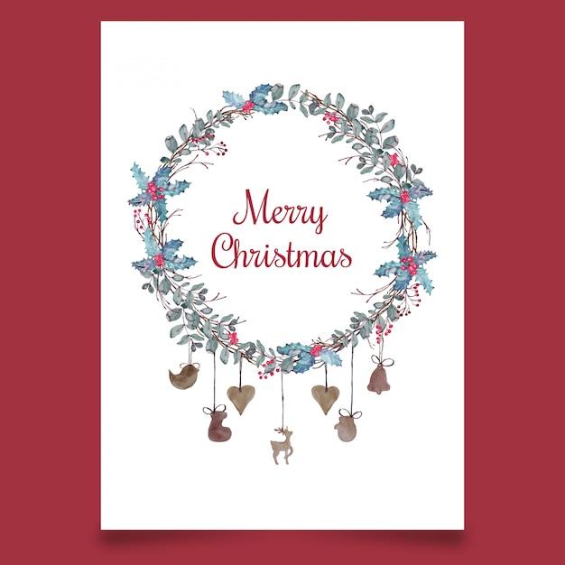 Pocztówka świąteczna z wieńcem z liści i drewnianymi zabawkami Premium Wektorów