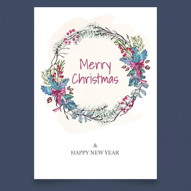 Pocztówka świąteczna z wieniec z gałęzi i klonu Premium Wektorów