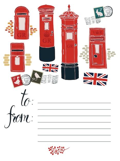 Pocztówka z polami pocztowymi Darmowych Wektorów