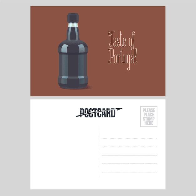 Pocztówka Z Portugalii Ilustracja Z Butelką Wina Porto Premium Wektorów
