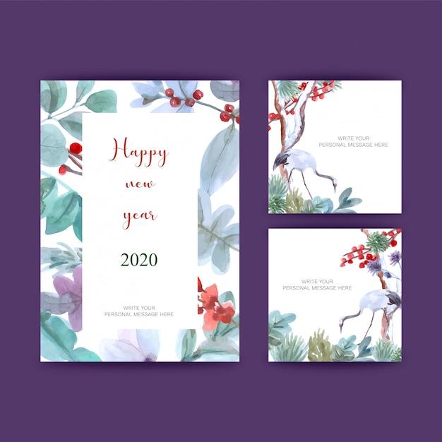 Pocztówki na nowy rok Premium Wektorów
