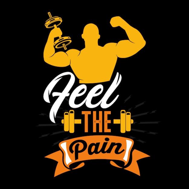 Poczuj ból. wypowiedzi i cytaty z siłowni Premium Wektorów